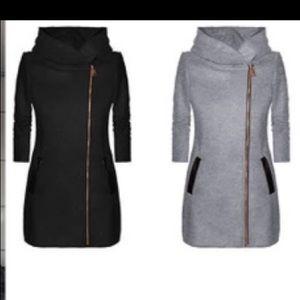 Tops - Asymmetrical zipper, high collar hooded sweatshirt